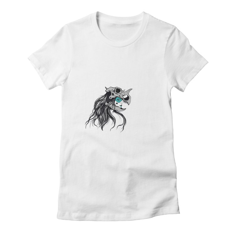 Skull Girl Women's Fitted T-Shirt by Diana's Artist Shop