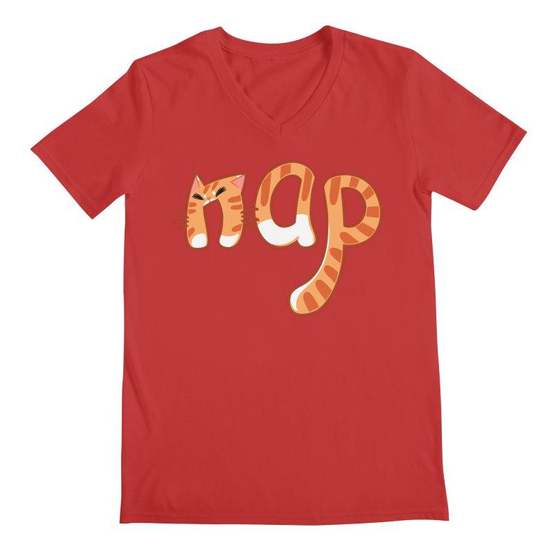 Cat Nap Men's V-Neck by dianasprinkle's Artist Shop