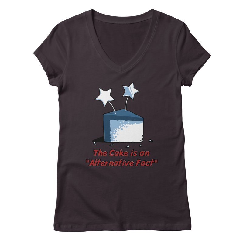 The Cake is an Alternative Fact Women's V-Neck by dianasprinkle's Artist Shop