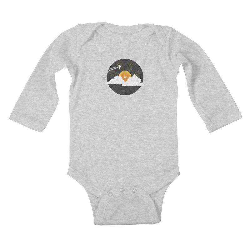 Sunburst Records Kids Baby Longsleeve Bodysuit by Dianne Delahunty's Artist Shop
