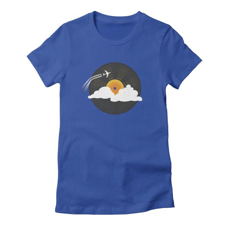 Sunburst Records Women's Fitted T-Shirt by Dianne Delahunty's Artist Shop