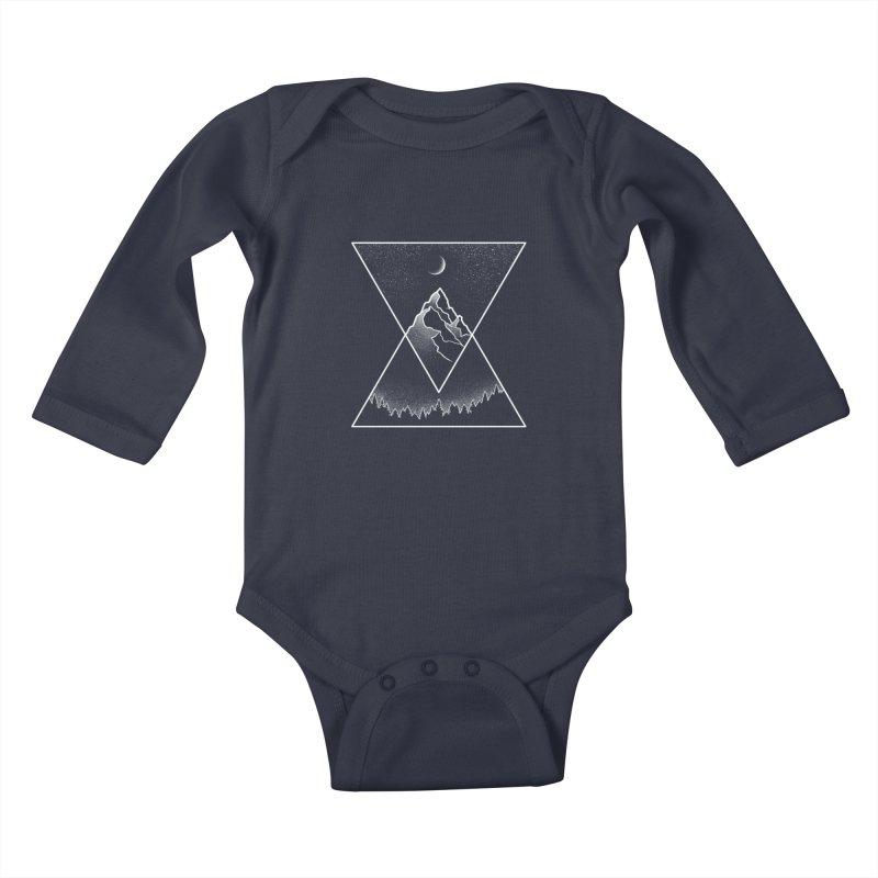 Pyramidal Peaks Kids Baby Longsleeve Bodysuit by Dianne Delahunty's Artist Shop
