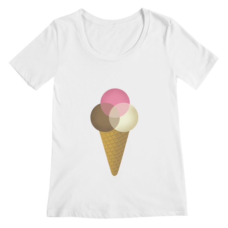 Ice Cream Venndor Women's Regular Scoop Neck by Dianne Delahunty's Artist Shop