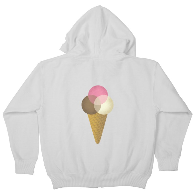 Ice Cream Venndor Kids Zip-Up Hoody by Dianne Delahunty's Artist Shop