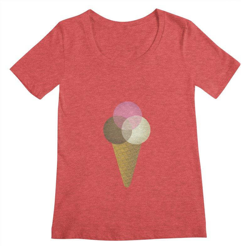 Ice Cream Venndor Women's Scoopneck by Dianne Delahunty's Artist Shop