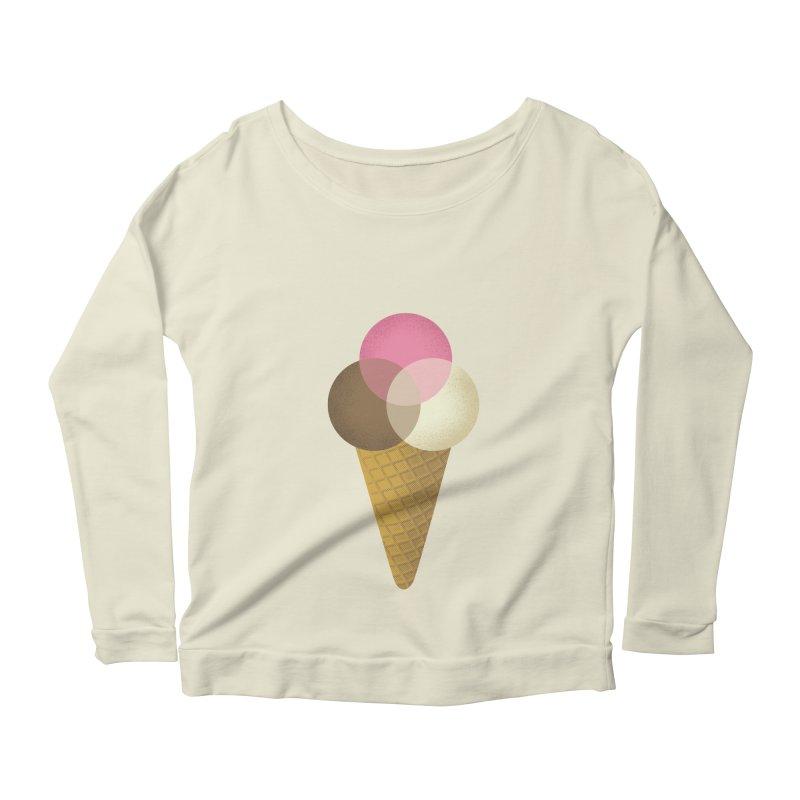 Ice Cream Venndor Women's Longsleeve Scoopneck  by Dianne Delahunty's Artist Shop