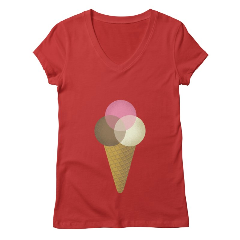 Ice Cream Venndor Women's V-Neck by Dianne Delahunty's Artist Shop