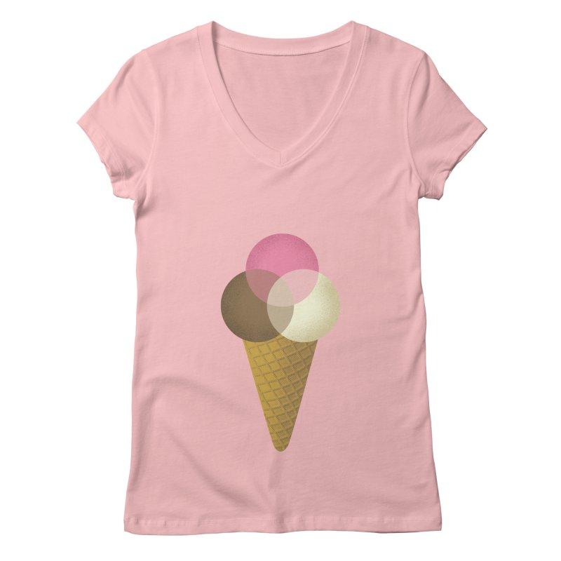 Ice Cream Venndor Women's V-Neck by Dianne Delahunty's Artist Shop
