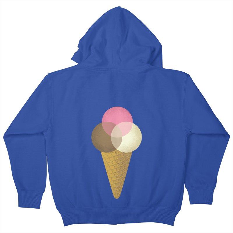 Ice Cream Venndor Kids Zip-Up Hoody by Dianne Delahunty's Artist Shop