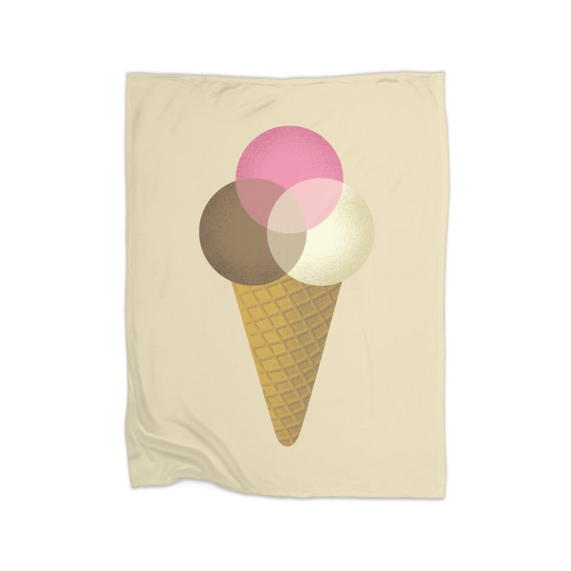 Ice Cream Venndor Home Fleece Blanket Blanket by Dianne Delahunty's Artist Shop