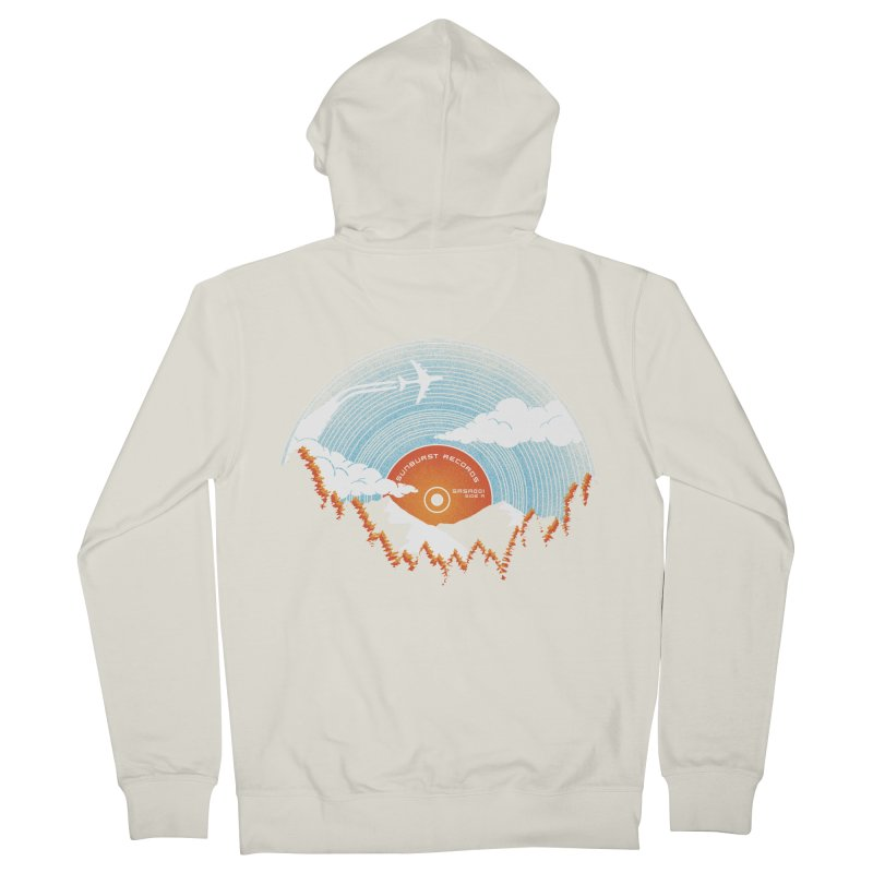 Sunburst Records Redux Men's French Terry Zip-Up Hoody by Dianne Delahunty's Artist Shop