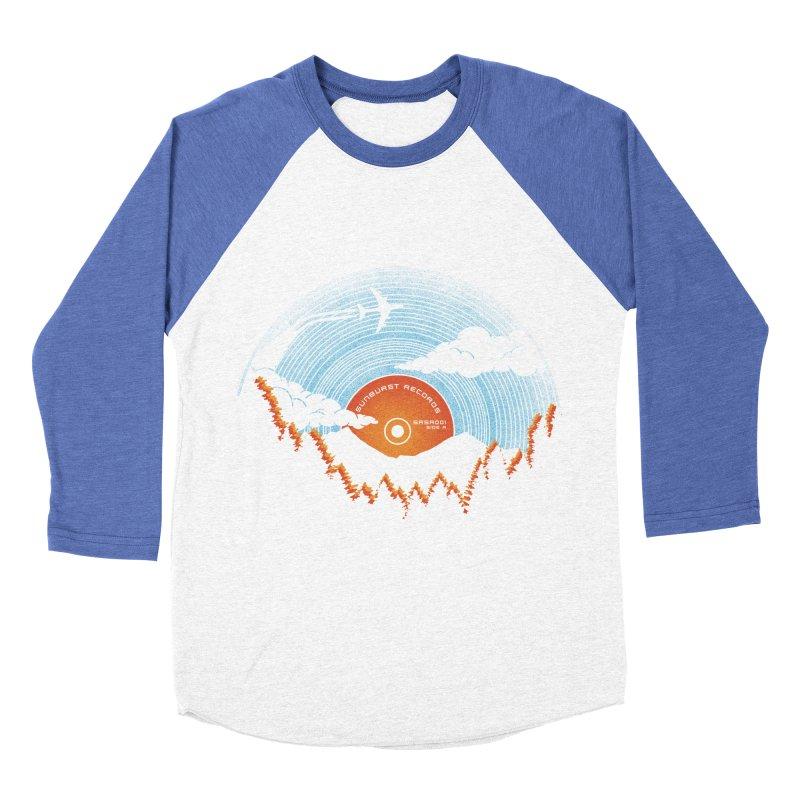 Sunburst Records Redux Men's Baseball Triblend Longsleeve T-Shirt by Dianne Delahunty's Artist Shop