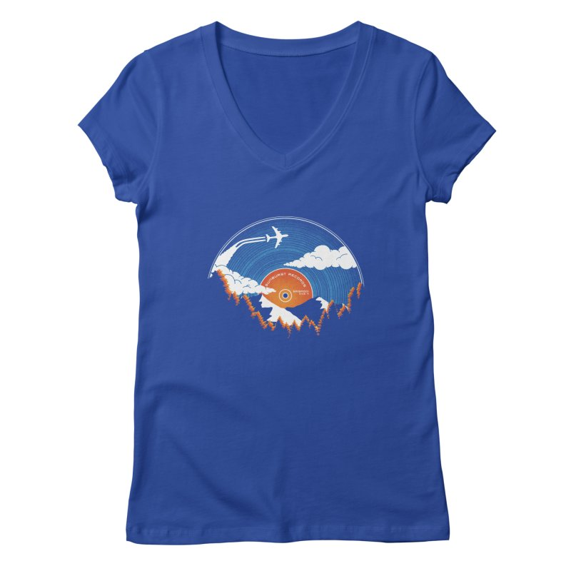 Sunburst Records Redux Women's V-Neck by Dianne Delahunty's Artist Shop