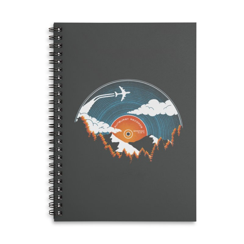 Sunburst Records Redux Accessories Lined Spiral Notebook by Dianne Delahunty's Artist Shop