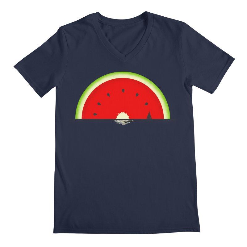 Melon Over Water Men's Regular V-Neck by Dianne Delahunty's Artist Shop