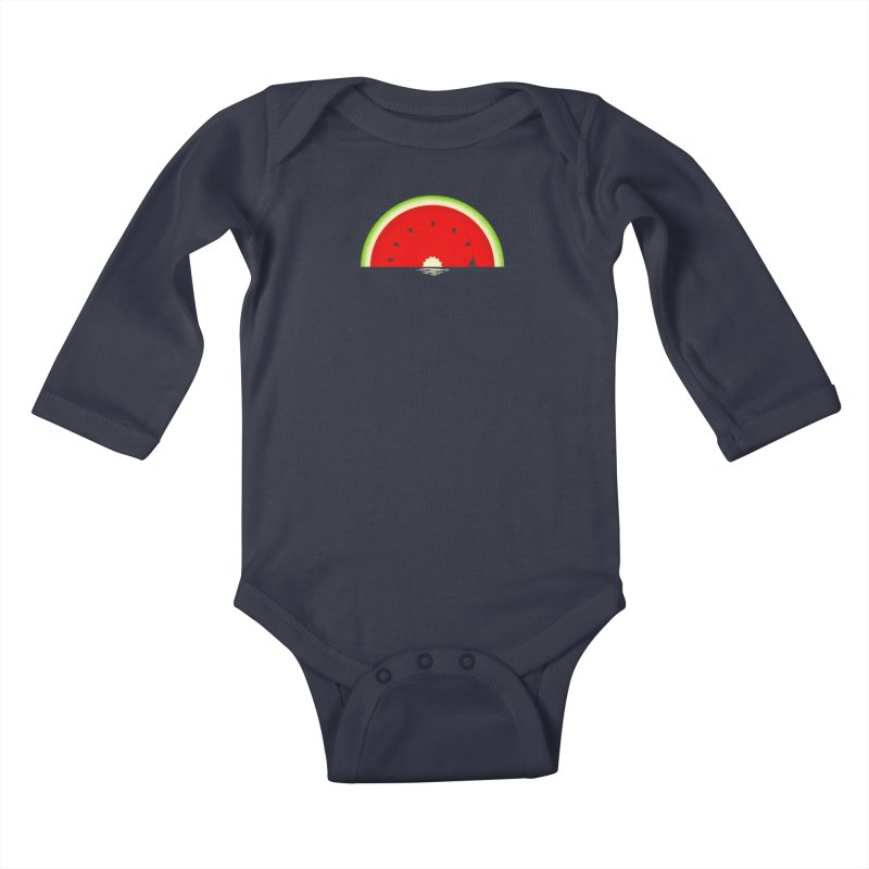 Melon Over Water Kids Baby Longsleeve Bodysuit by Dianne Delahunty's Artist Shop