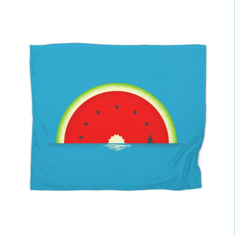 Melon Over Water Home Fleece Blanket Blanket by Dianne Delahunty's Artist Shop