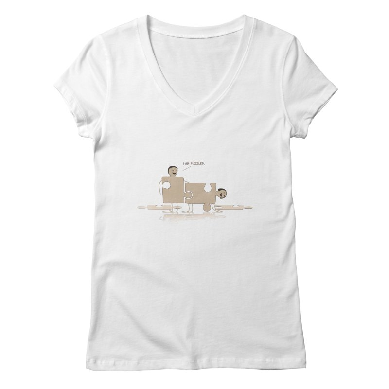 Solving the puzzle, gone wrong. Women's V-Neck by Diardo's Design Shop