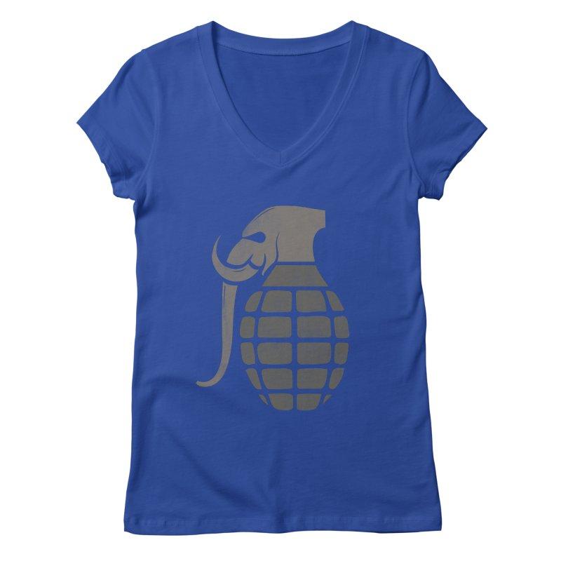 Elephant Grenade Women's V-Neck by Diardo's Design Shop