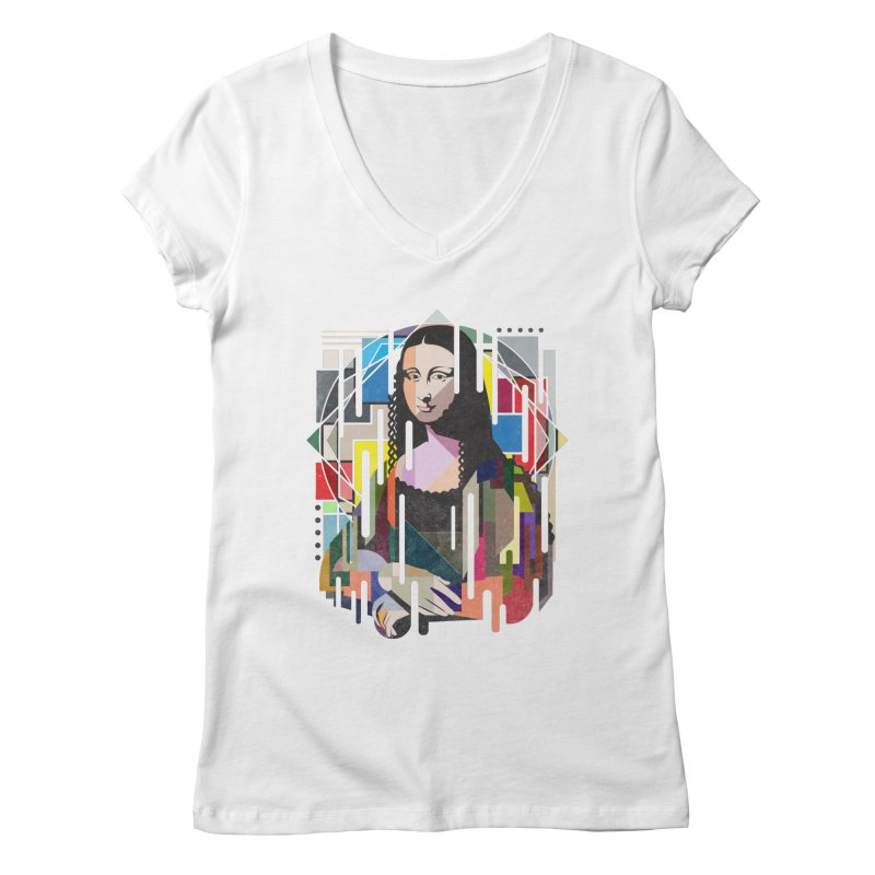 Monalisa met Picasso Women's V-Neck by Diardo's Design Shop