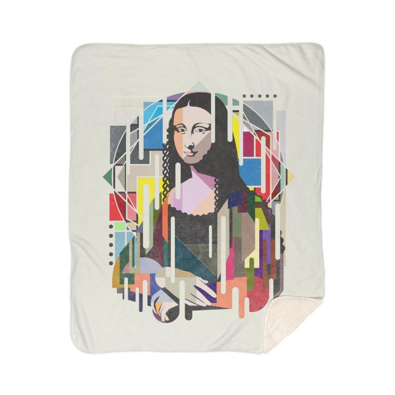 Monalisa met Picasso Home Sherpa Blanket Blanket by Diardo's Design Shop