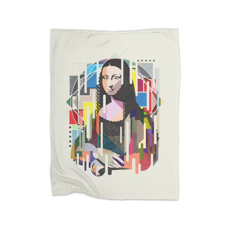 Monalisa met Picasso Home Fleece Blanket Blanket by Diardo's Design Shop