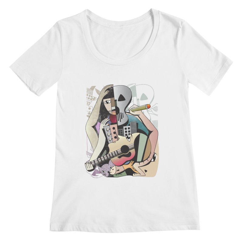 Music, Art and Life Women's Regular Scoop Neck by Diardo's Design Shop