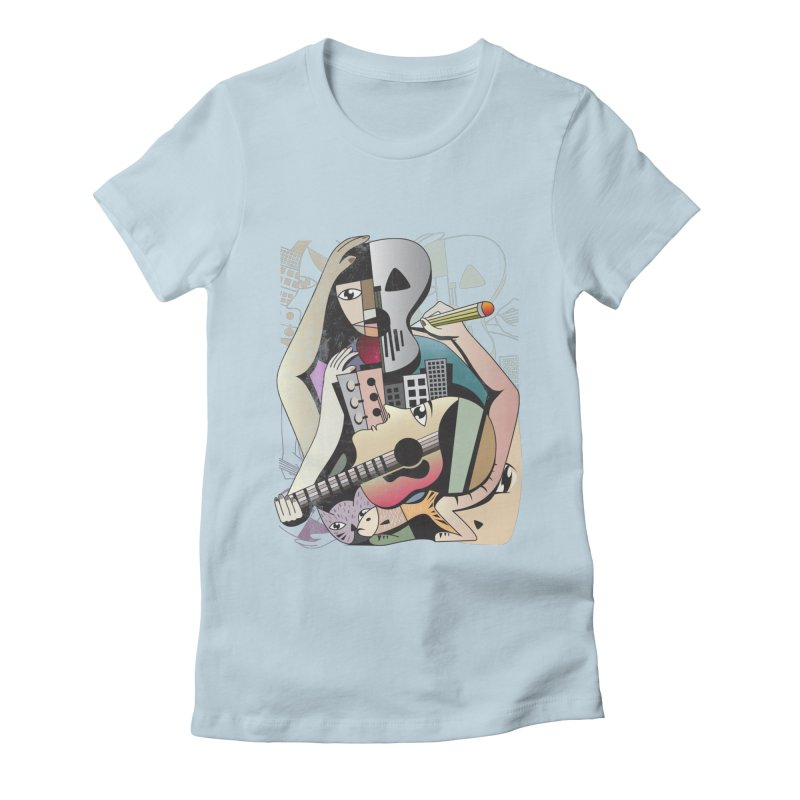 Music, Art and Life Women's Fitted T-Shirt by Diardo's Design Shop