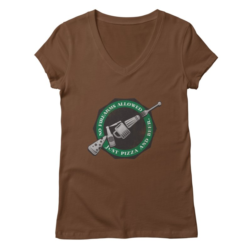 Just Pizza and Beer Women's V-Neck by Diardo's Design Shop