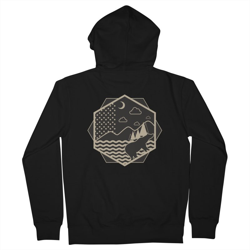 A night on the Wild Men's French Terry Zip-Up Hoody by Diardo's Design Shop