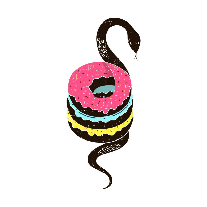 Snake Donuts Women's T-Shirt by Diardo's Design Shop
