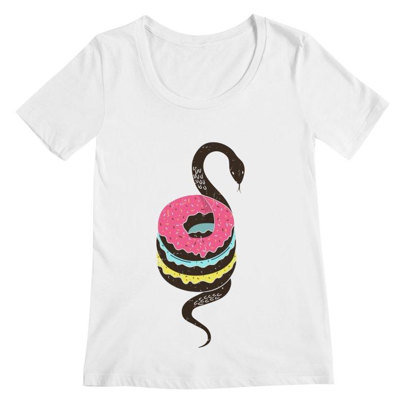 Snake Donuts Women's Scoopneck by Diardo's Design Shop