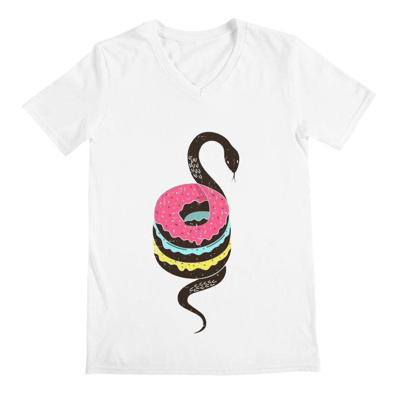 Snake Donuts Men's Regular V-Neck by Diardo's Design Shop