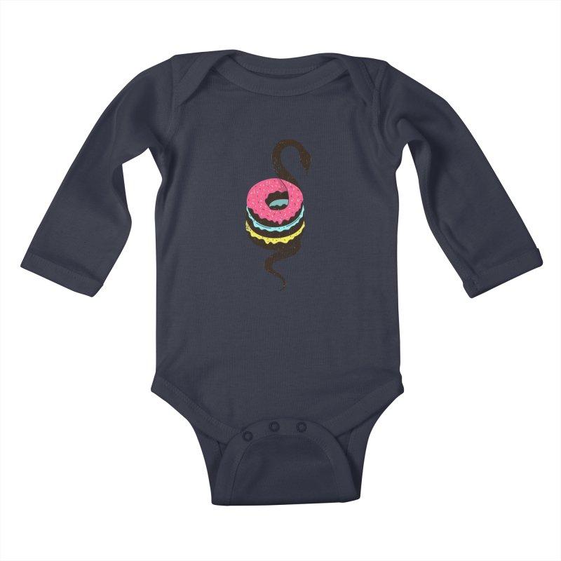 Snake Donuts Kids Baby Longsleeve Bodysuit by Diardo's Design Shop