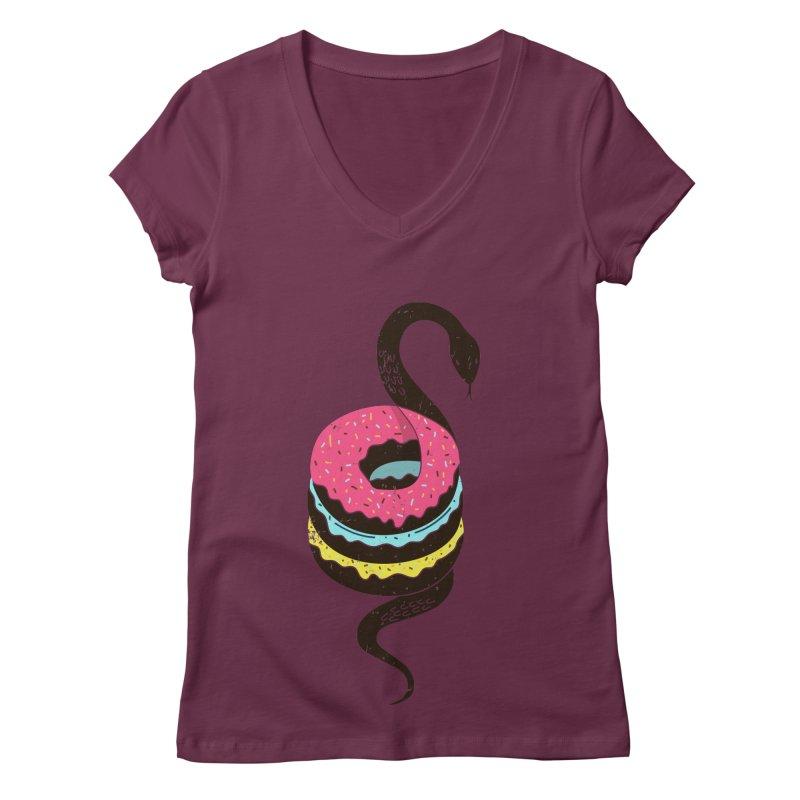 Snake Donuts Women's V-Neck by Diardo's Design Shop