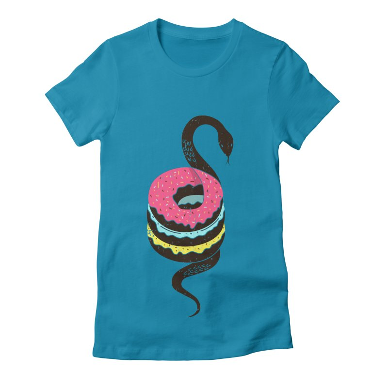 Snake Donuts Women's Fitted T-Shirt by Diardo's Design Shop