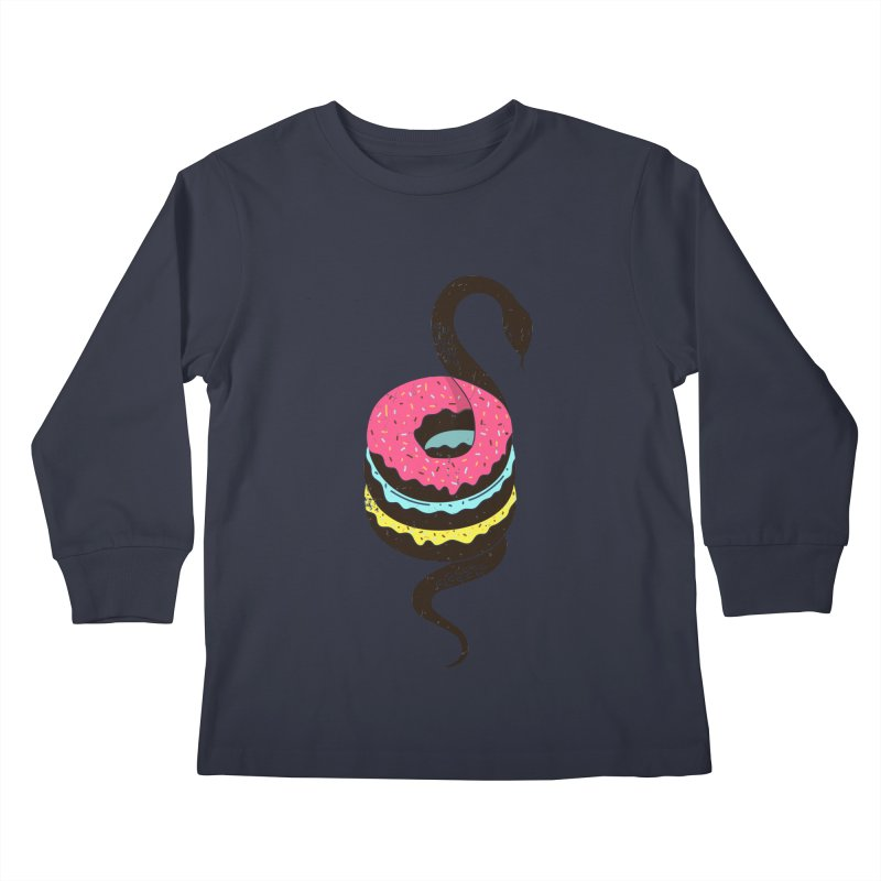 Snake Donuts Kids Longsleeve T-Shirt by Diardo's Design Shop