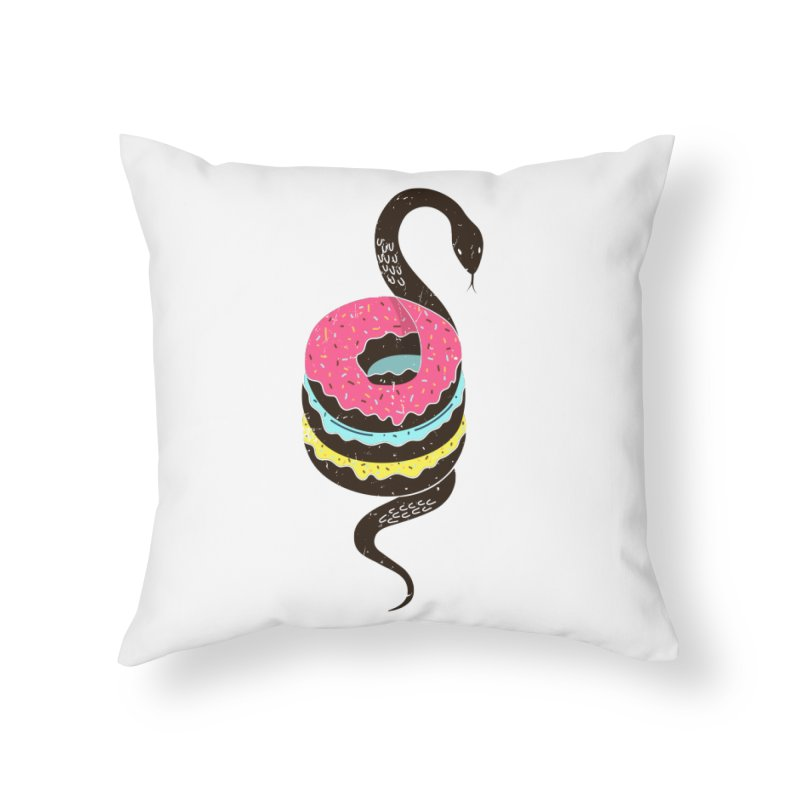 Snake Donuts Home Throw Pillow by Diardo's Design Shop