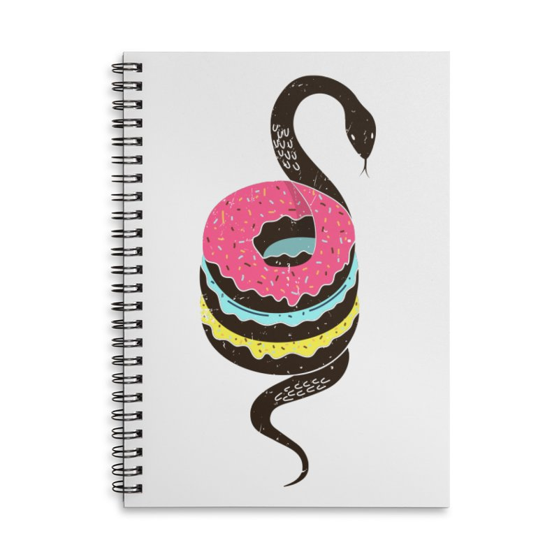 Snake Donuts Accessories Lined Spiral Notebook by Diardo's Design Shop