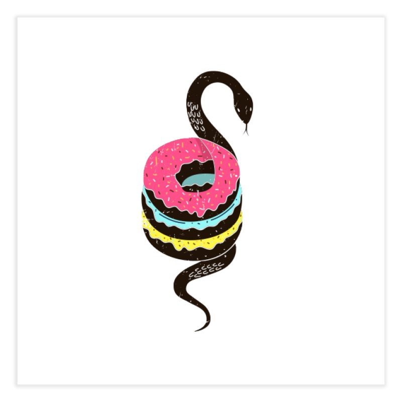 Snake Donuts Home Fine Art Print by Diardo's Design Shop