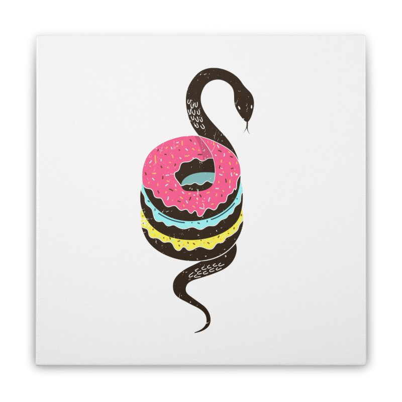 Snake Donuts Home Stretched Canvas by Diardo's Design Shop