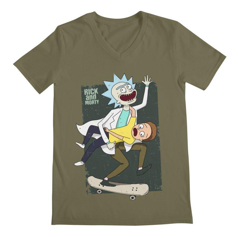 Rick and Morty Shirt Adventure Men's Regular V-Neck by Diardo's Design Shop