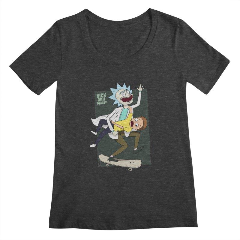 Rick and Morty Shirt Adventure Women's Scoopneck by Diardo's Design Shop