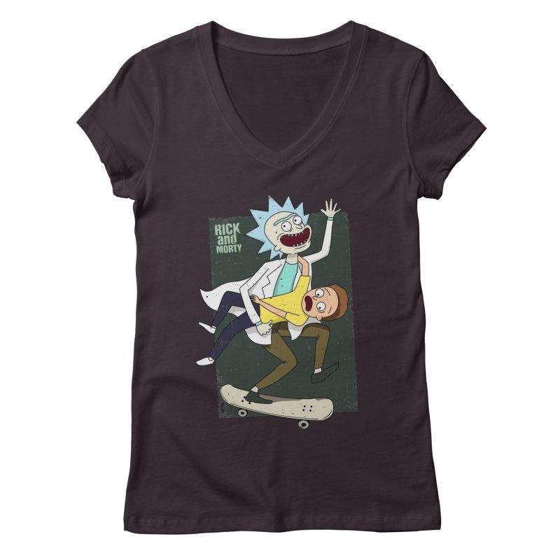 Rick and Morty Shirt Adventure Women's V-Neck by Diardo's Design Shop