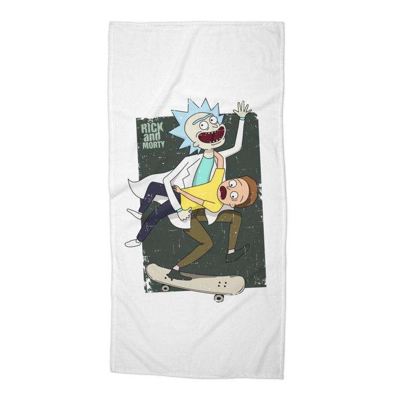 Rick and Morty Shirt Adventure Accessories Beach Towel by Diardo's Design Shop