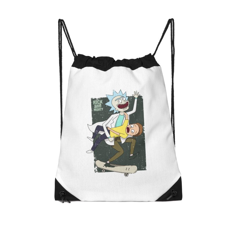 Rick and Morty Shirt Adventure Accessories Drawstring Bag Bag by Diardo's Design Shop