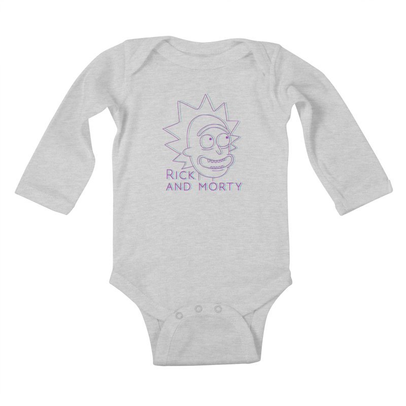 Rick Sanchez Portrait Kids Baby Longsleeve Bodysuit by Diardo's Design Shop