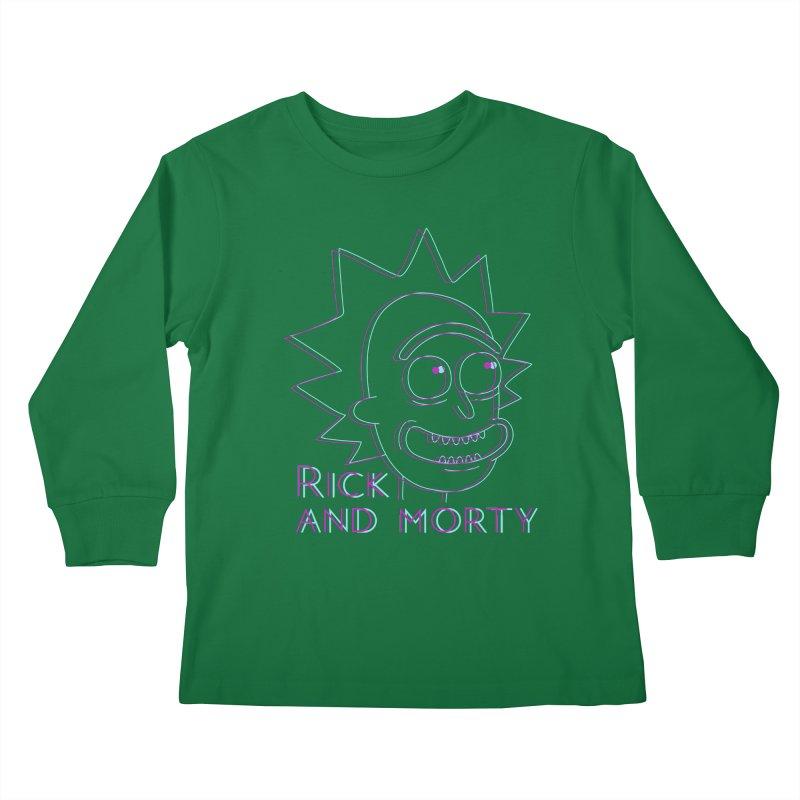 Rick Sanchez Portrait Kids Longsleeve T-Shirt by Diardo's Design Shop