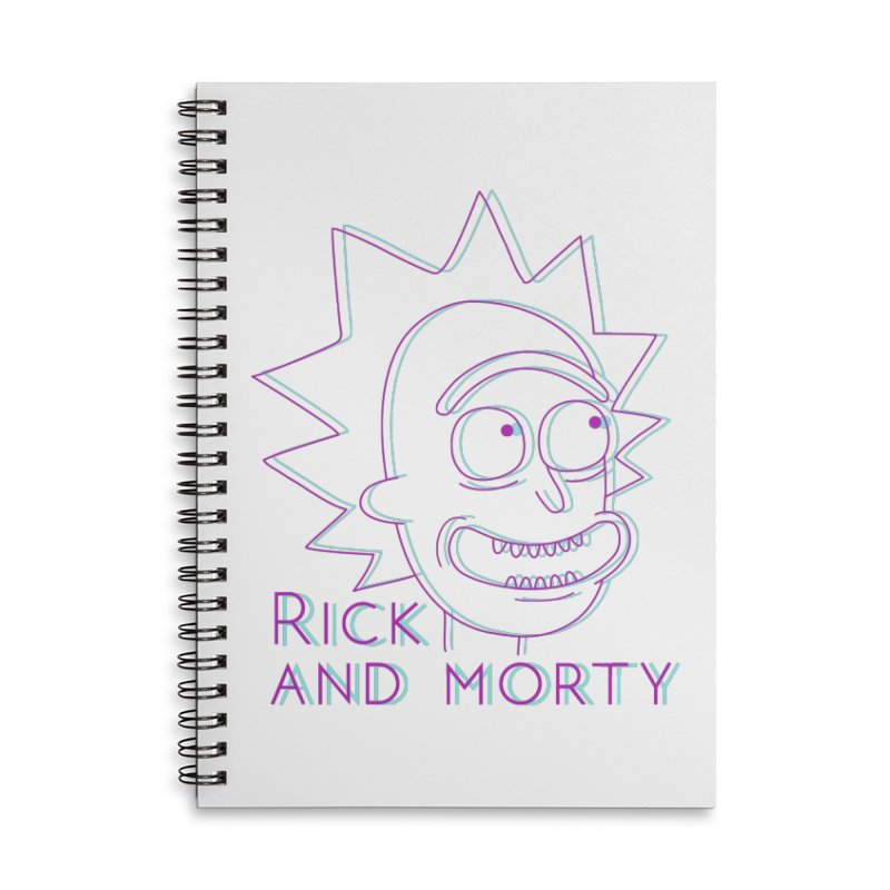 Rick Sanchez Portrait Accessories Lined Spiral Notebook by Diardo's Design Shop