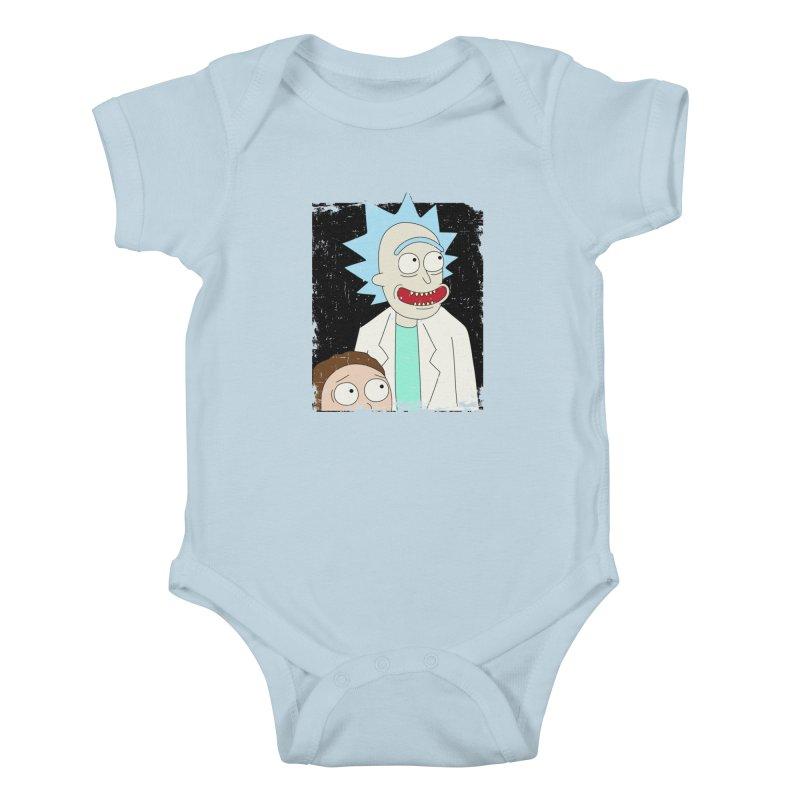 Rick and Morty Portrait Kids Baby Bodysuit by Diardo's Design Shop